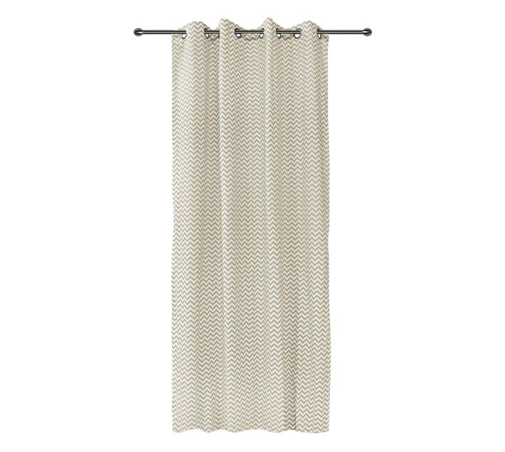 easyhome Zic Zac Brown eyelet curtain 140 x 260cm