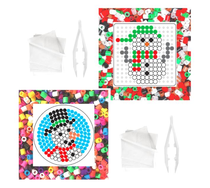 JKA - Iron On Bead Craft Toy - Double Combo Kit - Snowman Fun