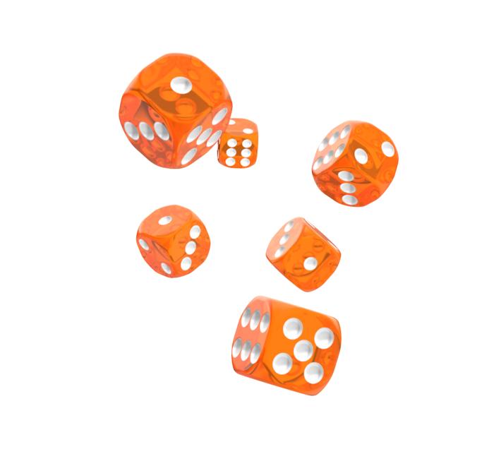 Oakie Doakie Dice D6 Dice 16 mm Translucent - Orange