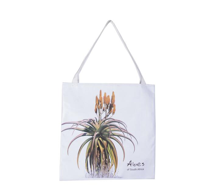 Tote Bag with a yellow aloe print.