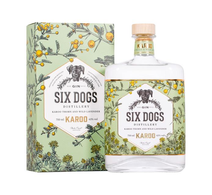 Six Dogs Handcrafted Karoo Gin (1 x 750 ml)