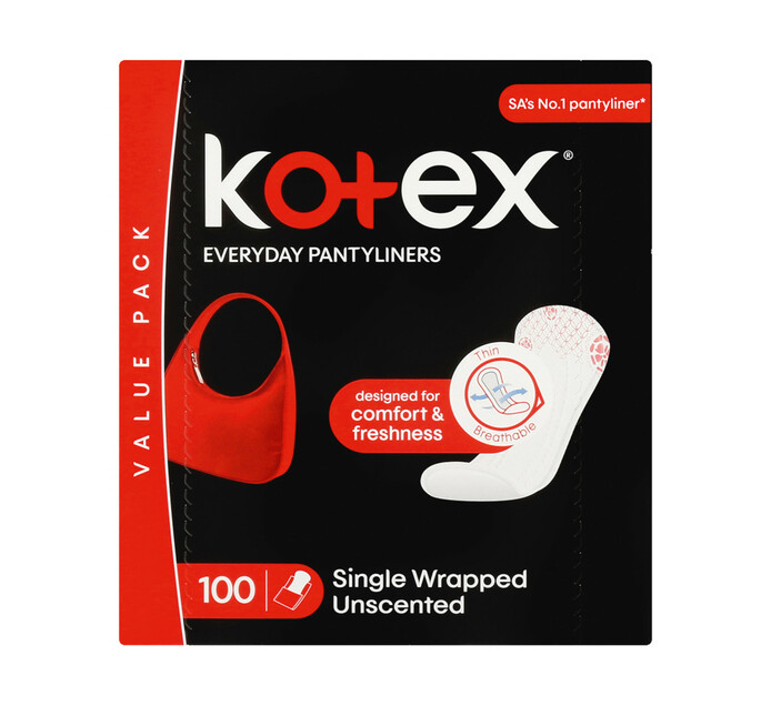 Kotex Pantyliners Unscented (1 x 100's)