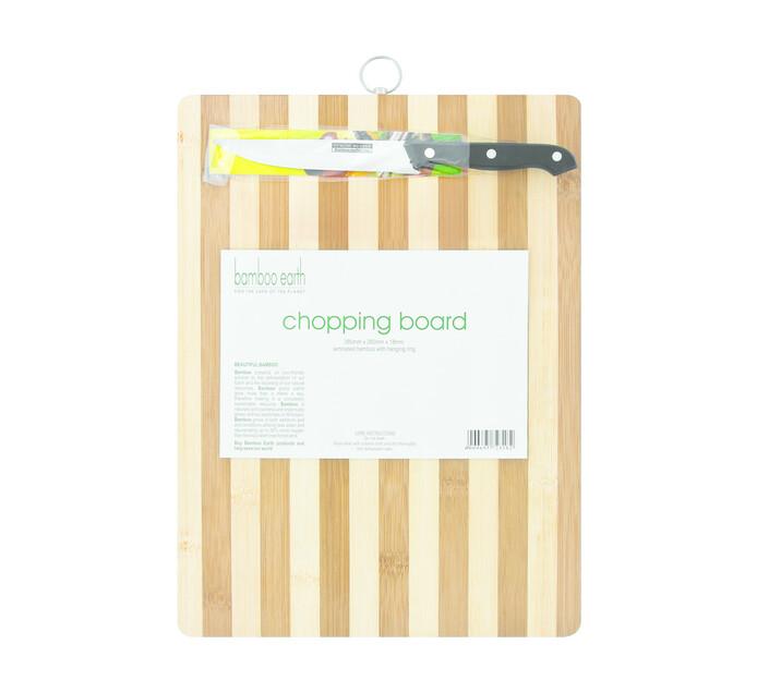 Bamboo Earth Chopping Board and Knife