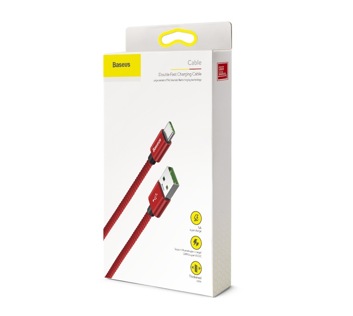 Baseus 1m - 5A Double Fast USB Type-A 2.0 to Type-C Cable for Huawei - Red