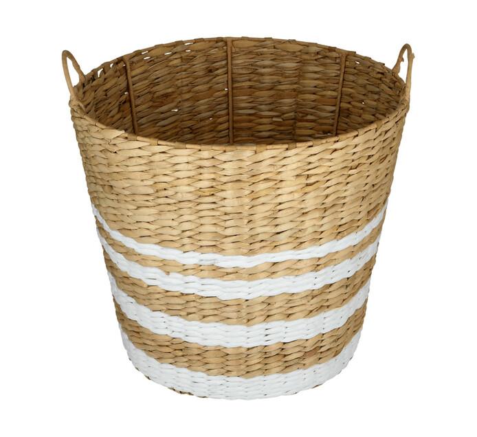 Large White Ring Hyacinth Basket