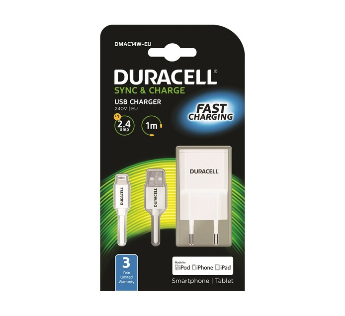 DURACELL 2.4 AMP APPLE WALL CHARGER