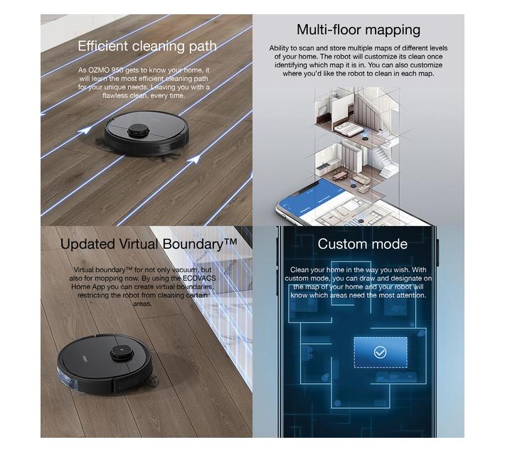 Ecovacs Deebot OZMO 950 Robot Vacuum Cleaner - Smart Navi 3, 200min Runtime