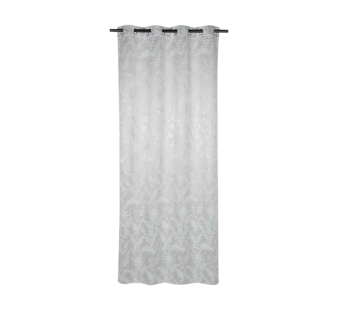 Design Collection 135 x 225 cm Fern Eyelet Curtain Silver