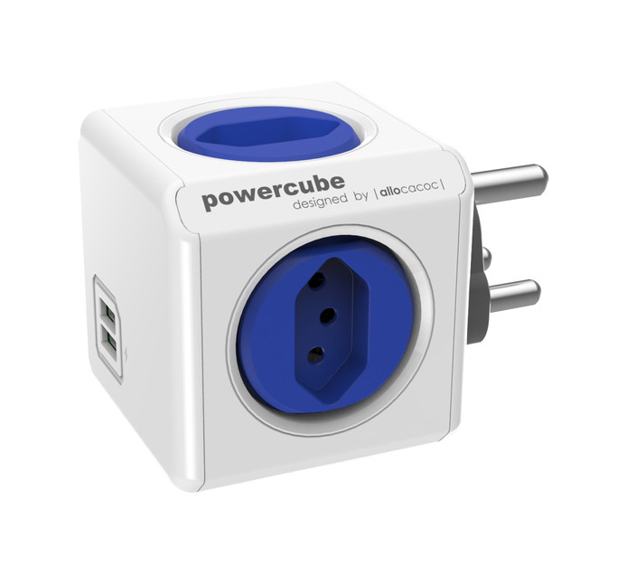 Allocacoc Powercube 4 way + 2 x usb mutliplug