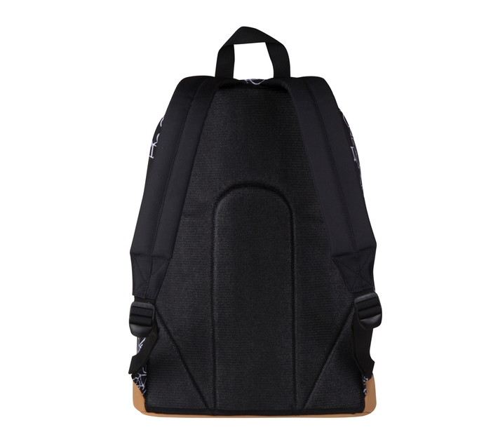 Volkano Suede Series Backpack in Black Bicycles Print with Elasticated Device Compartment and Adjustable Shoulder Straps
