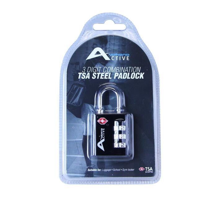 Volkano Active 3 Digit Combination TSA Steel Padlock