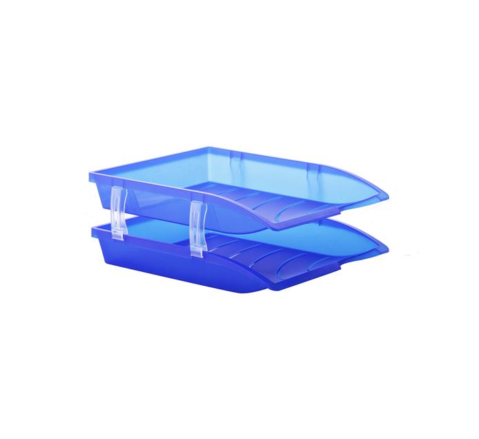 Bantex Optima Letter Tray Blue 2 Pack