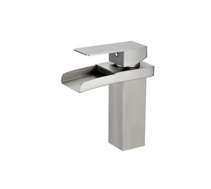 CHROMECATER Basin Mixer Short Square Waterfall Spout Brushed S/Steel