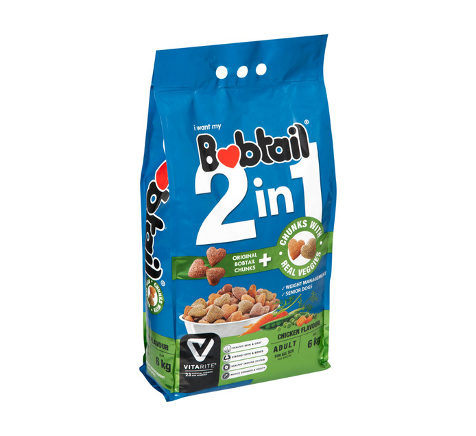 Bobtail 2 In 1 Adult With Real Veg Chicken Flavour Dog Food (1 x 6kg)