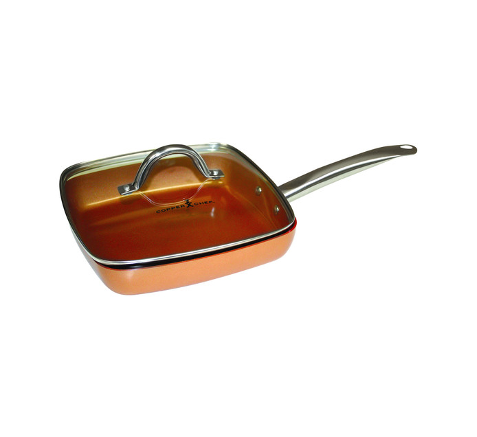 Homemark 25cm Copper Chef Square Frying Pan with Lid
