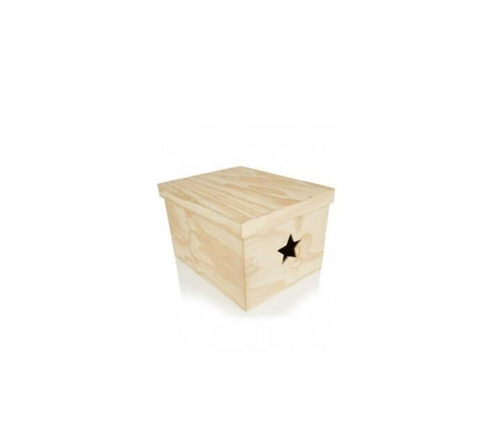 Large Heart Cut Out Storage Box Natural - Wood