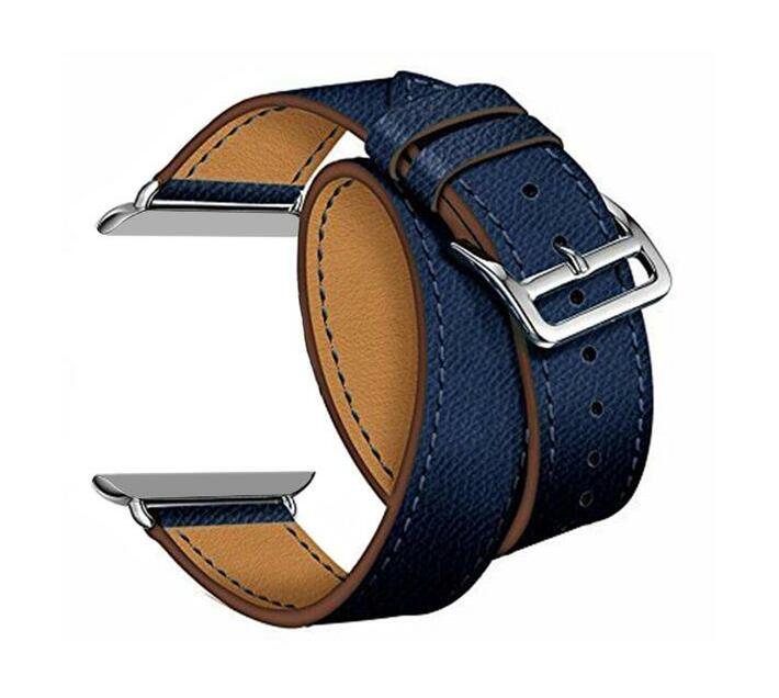 Zonabel 42mm Navy Hermes Leather Wrap Strap for Apple Watch