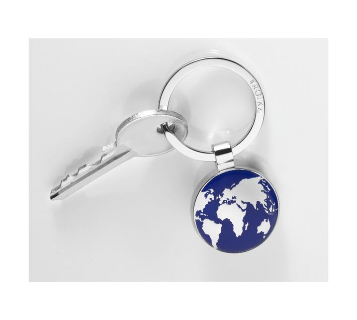 Troika Keyring Around The World Silver And Blue