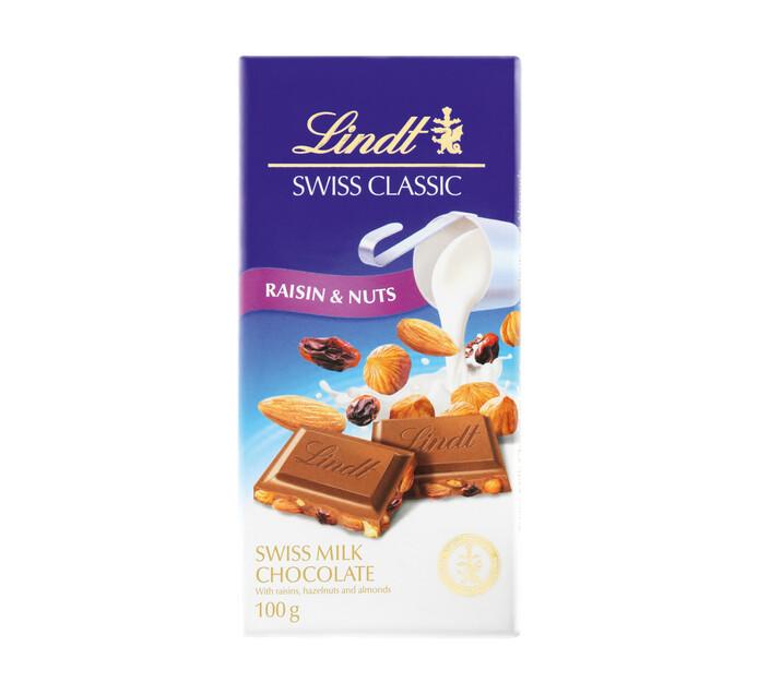 LINDT Swiss Classic Chocolate Slabs Raisin Hazelnut (1 x 100g)