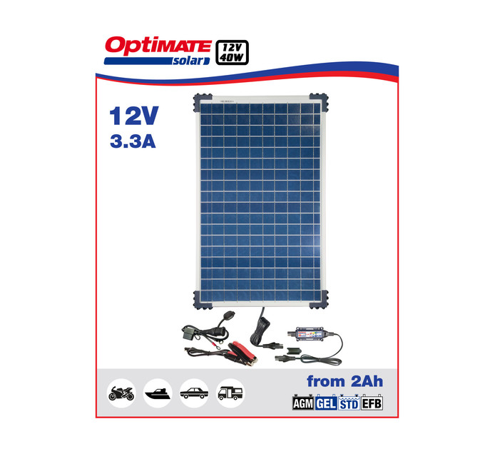 OPTIMATE 40 W 40W Solar Panel Charge Kit