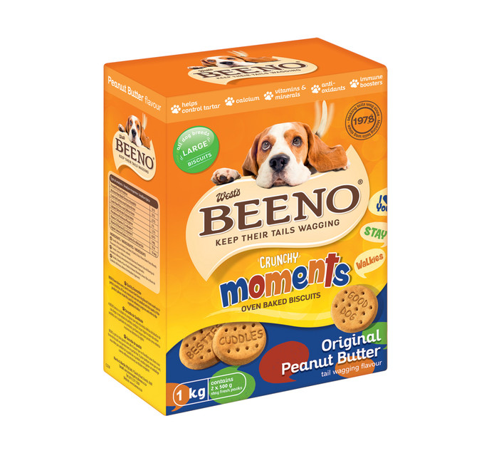 BEENO DOG BISCUITS 1KG,ORIG P\BUTTER LRG
