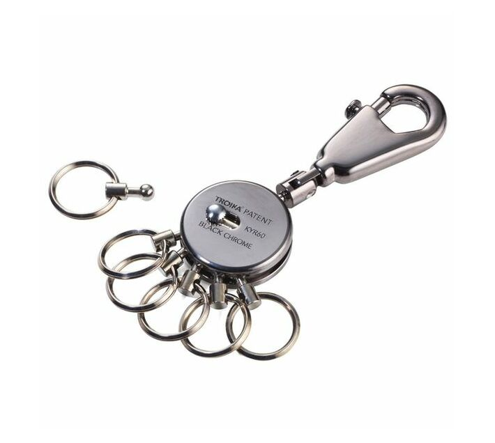 Troika Keyring With Carabiner and 6 Rings Patent Black Chrome