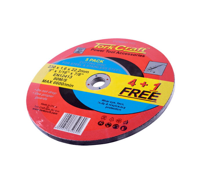 Tork Craft 230 mm x 1.6 mm Metal Cutting Discs 4+1-Pack