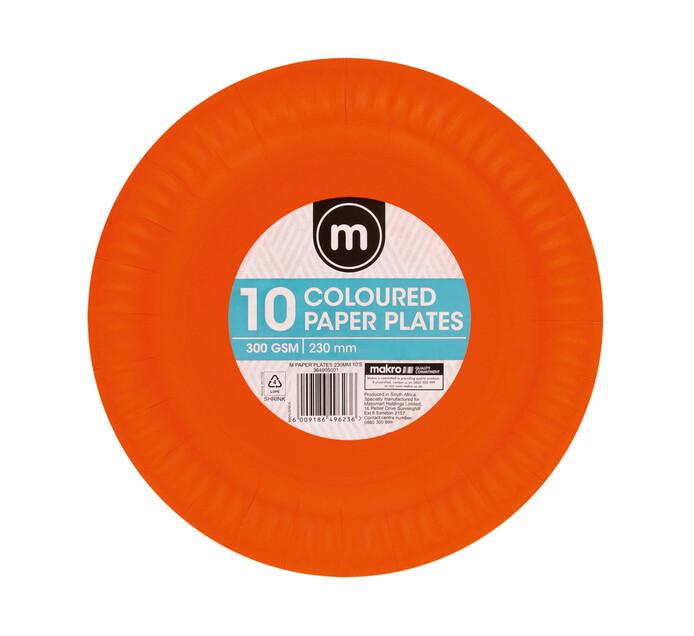 M Brand Paper Plates 230mm Colours (100 x 10's)