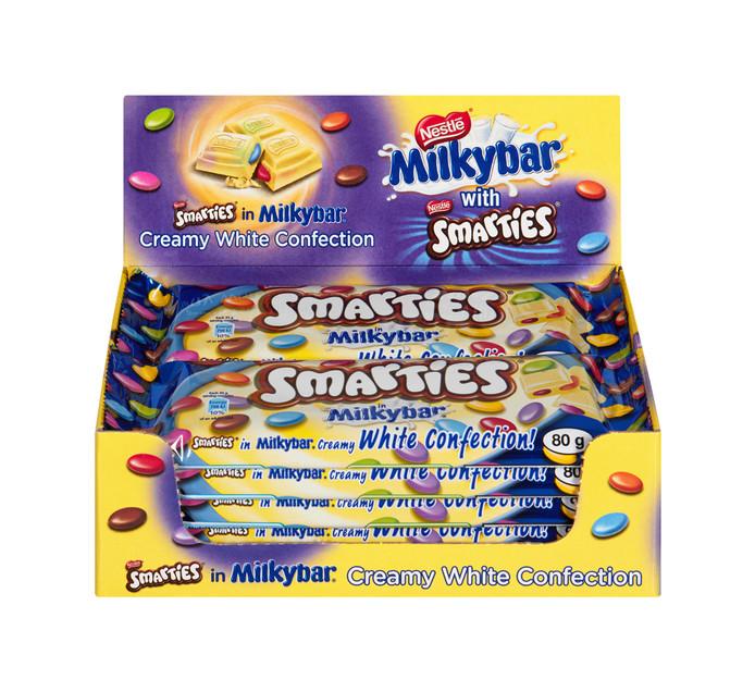 Nestle Choc Slabs Milky Bar Smarties (10 x 80g)
