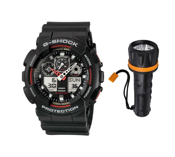 Casio G-SHOCK GA-100-1A4DR Men`s Ana-Digital Watch Bundle