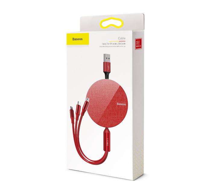 Baseus 1.2m - 3.5A 3in1 Fabric Retract USB TypeA - Micro/Lightning/TypeC R