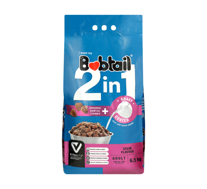 Bobtail 2 IN 1 Adult Dry Dog Food Gravy Coated Steak Chunks (1 x 6.5kg)