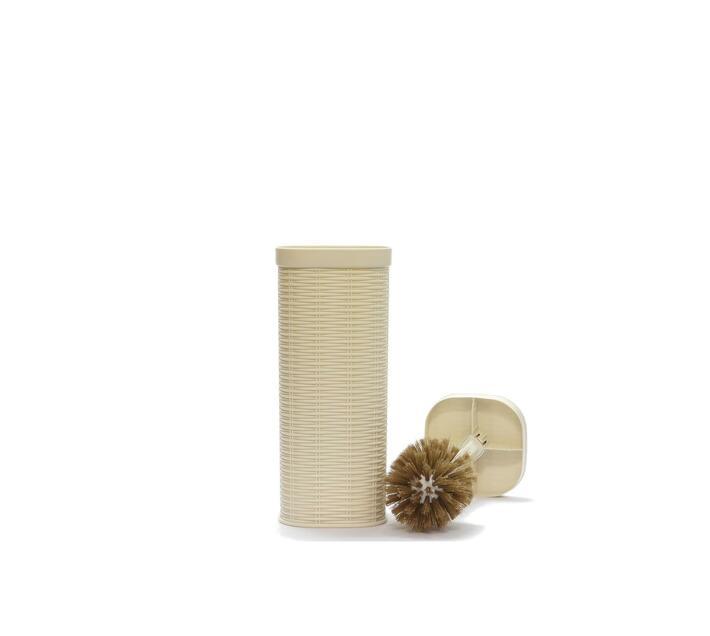Toilet Brush Rattan Square Plastic Beige