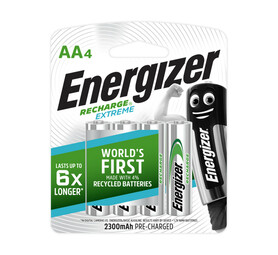 ENERGIZER 4 Pack AA NIMH Batteries