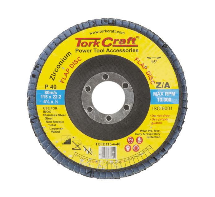 Tork Craft 40 Grit 115mm Zirconium Flap Disc