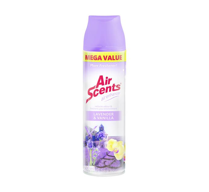Air Scents Aerosol Air Enhancer Mega Value Lavender and Vanilla (6 x 500ml)