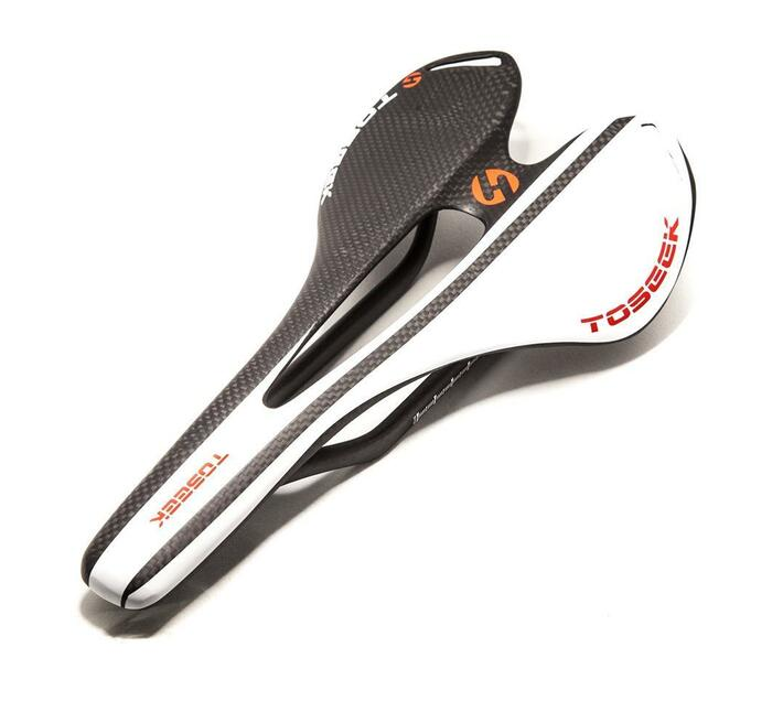 Toseek Full Carbon Fiber Saddle - Ultralight (White & Black)