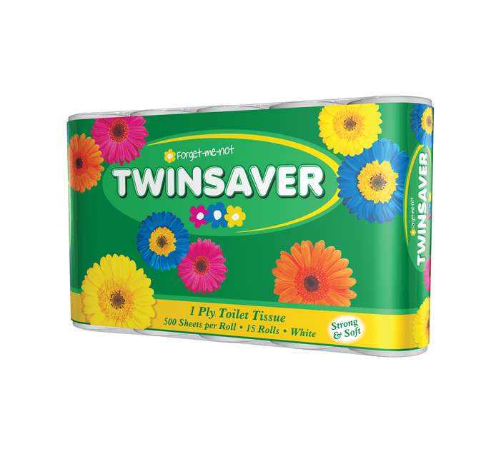 TWINSAVER 1 Ply Toilet Paper White (15's)