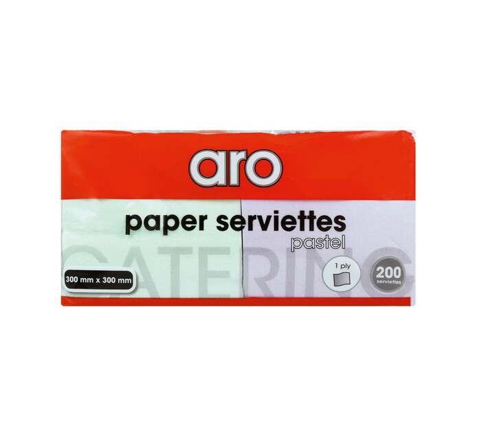 ARO Serviettes Pastel 1ply 300mm x 300mm (1 x 200's)