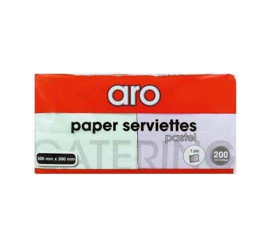 ARO SERVIETTES PASTEL 1 PLY 200'S