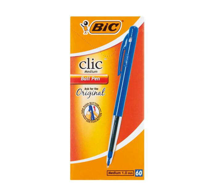 BIC Clic Ballpoint Pens Blue 60-Pack Blue