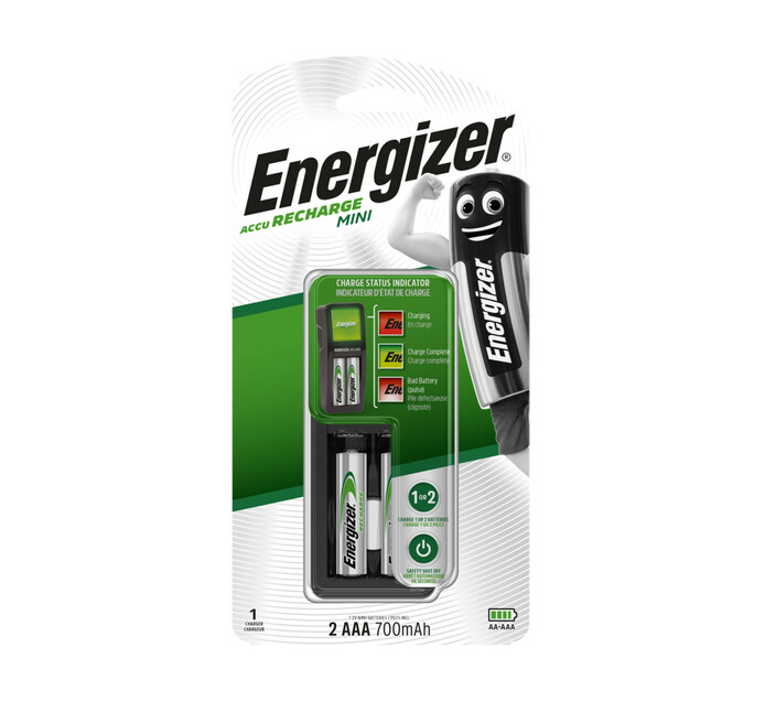 Energizer AAA 700 mAh Rechargeable Batteries 2-Pack plus Mini Charger