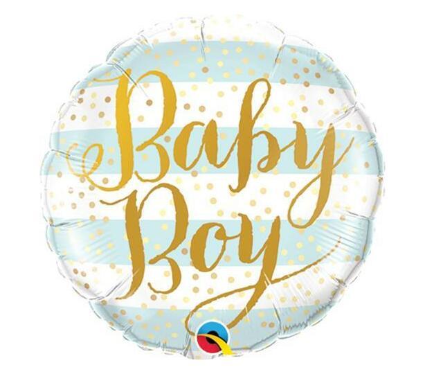 9 INCH FOIL BABY BOY BLUE STRIPES 1CTL
