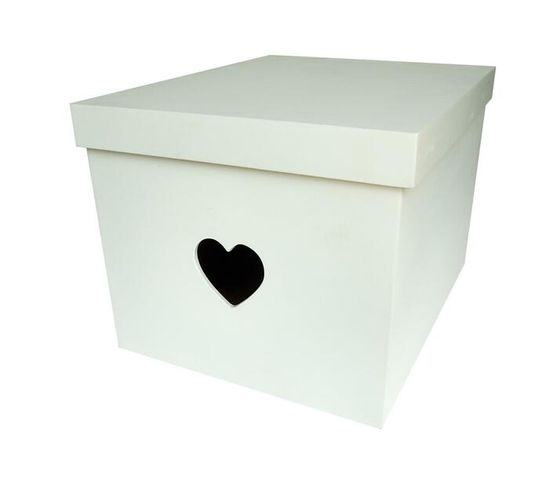 Large Heart Cut Out Storage Box - Wood