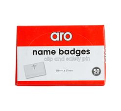 ARO NAME BADGES WITH CLIP 50 PCS IN BOX