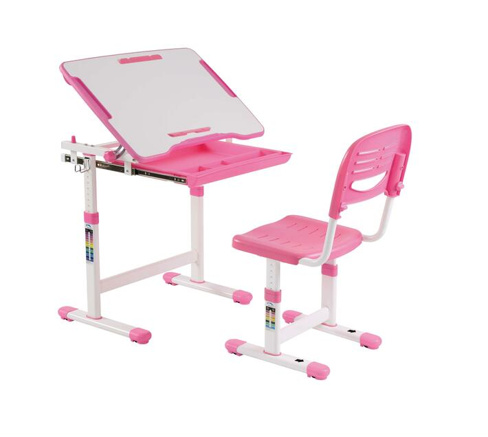 STUDY DESK & CHAIR WITH PAPER ROLL - PINK