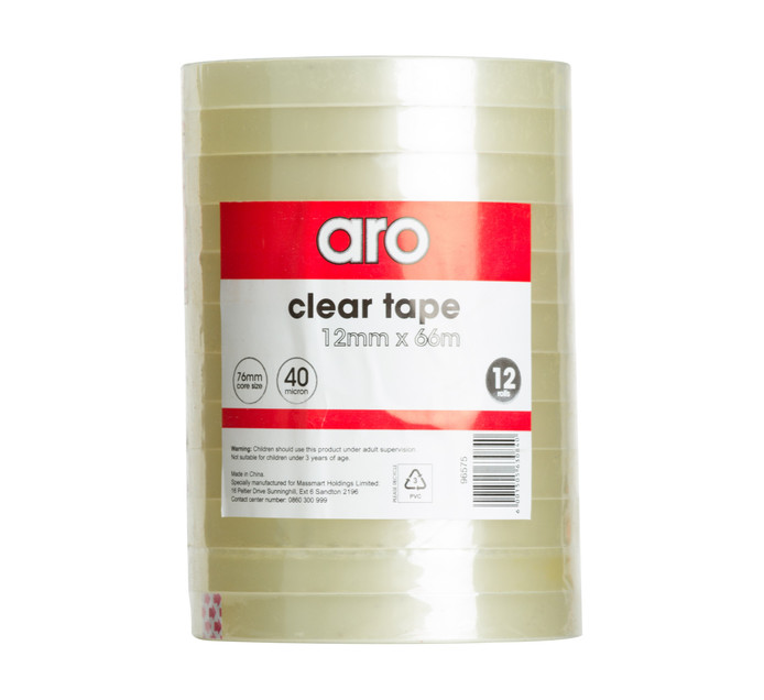 ARO 12mm x 66m Clear Tape 12 Pack Clear