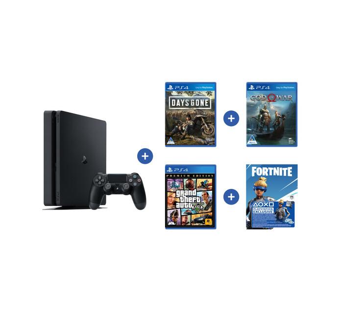 PS4 500 GB Console Bundle (GTA, GOW, Days Gone, Fortnite, PSN)
