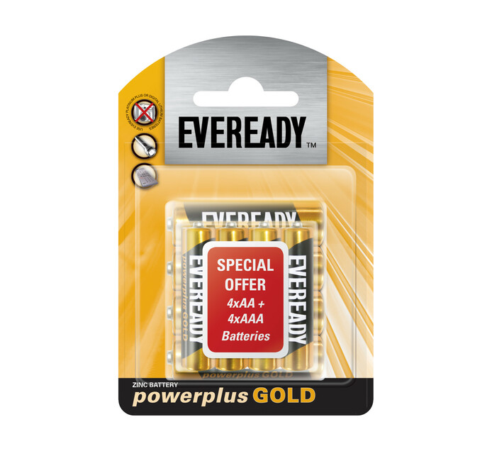 Eveready Power Plus Gold 4 x AA and 4 x AAA Batteries