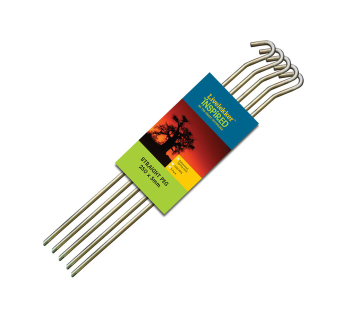Livelekker 250 mm x 5 mm Straight Pegs 5-Pack